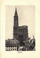 """1903 Antique Fine Art Print Strassburg The Cathedral  Dodd Mead Co. 10"""" X 6"""""""