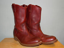 1990's Burgundy Brown Leather Simple Western Style Boots Men's Size 9 Eee (used)