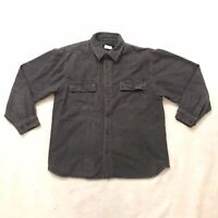 Field & Stream Mens Thick Flannel Long Sleeve Button Shirt Gray Pockets Large