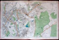 Wimbledon London city plan c.1911 detailed uncommon map