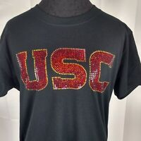 Women's Usc Trojan spangle Rhinestone Football V-neck T Shirt Tee Lady