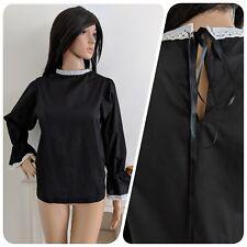 Vintage 70s Algodón Manga Campana de encaje negro con blusa top 60s 8 10 12 38