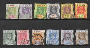 Gambia KEVII KE7 1902 - wmk crownca, superb full used set of12, no faults [s221]