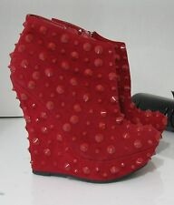 """US Women Size 8  new Red Spike 5.5""""High Wedge Heel 1.5""""Platform Sexy Ankle Boots"""