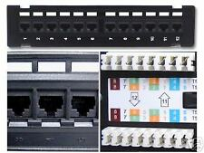 FIVE New 12 Port Cat6 Wall Mount  Surface Mount Patch Panel
