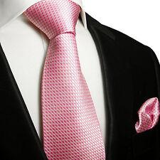 XL Krawatten Set 2tlg pink extra lange 165cm Seidenkrawatte + Tuch 501