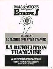PUBLICITE  1973   EUROPE 1 radio   LA REVOLUTION FRANCAISE  OPERA ROCK