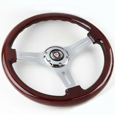 CUSTOM CLASSIC MAHOGANY WOOD GRAIN STEERING WHEEL W/ WOLFSBURG HORN BUTTON