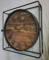 Framed Wall Clock Vintage Style Roman Numerals Large Time Piece Hanging Quartz