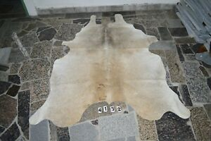 BUTTER CREAM -   Rug HAIR ON SKIN  Leather cowhide 4132--  81'' x  59''