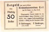 1920 Austria KIRCHENBAUVEREINES 50 Heller Banknote / Notgeld