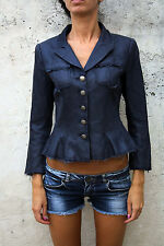Dondup Made in Italy Ladies Cotton Silk Blazer Jacket Distressed Look Blue 40 S