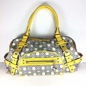 Kathy Van Zeeland Floral Satchel Tote Bag Purse Yellow Patent Leather