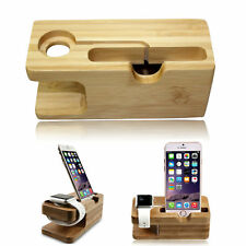 2 in 1 Bamboo Desktop Stand Holder Charger Docking Station For iWatch & iPhone.