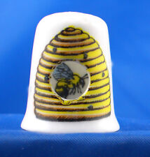 Birchcroft China Thimble -- Peephole -- Bee in Hive -- Free Dome Box