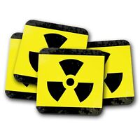 4 Set - Radioactive Warning Sign Coaster - Science Zombie Nuclear Gift #14657