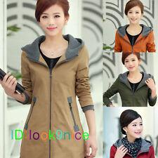 Fashion Women Warm Hooded Long Coat Jacket Trench Windbreaker Parka Outwear