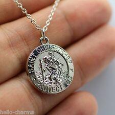 Silver St Christopher Charm Necklace Pendant Patron Saint Religious Chain cath