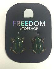 La liberté à Topshop forest grenouille verte clous boucles d'oreilles écouteur bijoux bnwt
