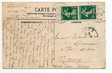 FRANCE Belle paire verticale de carnet de 5 centimes semeuse sur carte postale