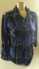 Western ARIZONA Long-Sleeve Sequin Plaid Shirt BLUE JUNIORS PLUS SZ XL