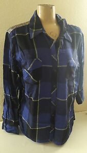 Western ARIZONA Long-Sleeve Sequin Plaid Shirt BLUE Size Junior's Small New
