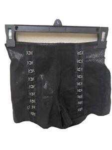 Bebe Snakeskin Leather Black Hook and Eye Short 0 Orig. $358 NWT