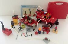 Playmobil Lot :fire truck,fire Rescue Boat ,pumps ,people ,accessories