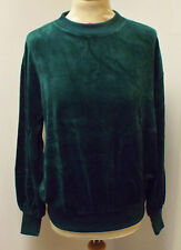 VINTAGE 1980's UNWORN UNISEX GREEN VELOUR CREW NECK TOP / SWEATSHIRT SIZE 42""