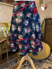 Joe Browns Size 14 Boho Blue Floral Pattern Red Rick Rack Flower Accent Brodaire