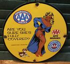 VINTAGE 1958 DATED PORCELAIN AAA EMERGENCY AUTOMOBILE CLUB INSURANCE GAS SIGN