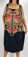 CITY CHIC Black Gold Floral Print Square Neck Sheath Dress Plus Size L AU 20