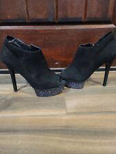 Pelle Moda Multicoloured Glitter  Black Suede Ankle Boots Sz 8