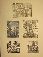 Antigua xilografía impresión ~ varios santos religiosos Gothic image
