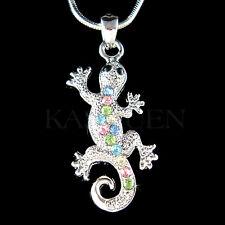w Swarovski Crystal Rainbow Lizard REPTILE Salamander Gecko Charm Chain Necklace