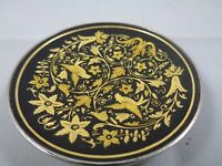 "Vintage Damascene Birds & Flowers Spain Mini Pin Trinket Dish Footed 2 1/4"" D"