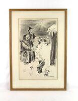 Rare Vintage Antique Denys Wortman Etching Print Christmas Carolers