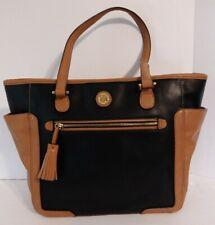 Kate Landry Vegan Faux Leather Tote Shoulder Bag Black & Tan Outer Pockets
