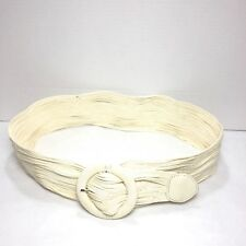 Coldwater Creek Chic Winter White Cotton Wide Fashion Belt Size Small