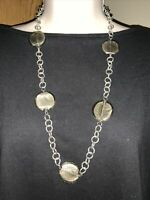 J CREW See Thru Stone & Silver Chain Pendant Charm VINTAGE Necklace ❤️tw11j