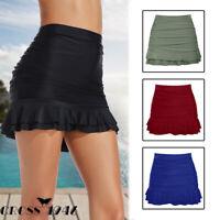 US Womens Swim Skirt Bikini Bottom Tankini Shorts Ruched Beach Swimming Bathing