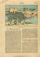 Aswan Low Dam île Temple d'Isis Philæ Nile Nil Egypt Egypte  1925 ILLUSTRATION