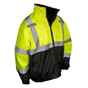 Radians SJ210B Reflective Safety Bomber Jacket with Fleece Liner, Hi-Vis Green