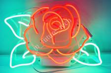 "New Rose Flower Neon Light Sign Lamp Beer Pub Acrylic 14"" Artwork Glass"