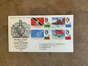 TRINIDAD & TOBAGO 1966 FDC QUEEN ELIZABETH 2 CARIBBEAN ROYAL VISIT PRINCE PHILIP