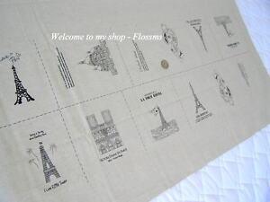 Cotton Linen Blend Fabric Paris Eiffel Illust 115x57cm