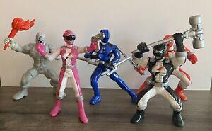 "5 Power Rangers PVC 3 1/2"" Figures Overdrive Chiller Black Red Pink Blue Jaguar"