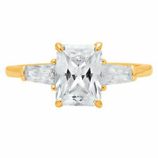 2CT Emerald Baguette Cut Engagement Bridal Solitaire 3Stone Ring 14K Yellow Gold