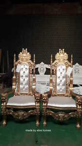 BESPOKE 1 x Gold and White 180cm high Lion King Throne chair