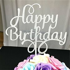 2 Pack Happy Birthday Cake Topper Glitter Party Event Decorations Silver